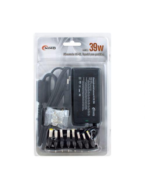 Alimentador regulable universal 12V a 24V 39W con 8 clavijas intercambiables