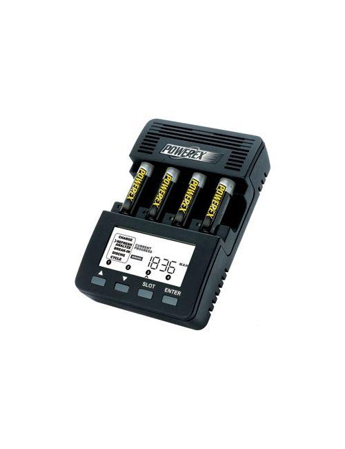 Cargador analizador para 4 pilas AA ó AAA con pantalla LCD Powerex Wizard One