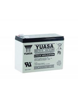 Batería 12V 10Ah YUASA serie REC, alto rendimiento cíclico.