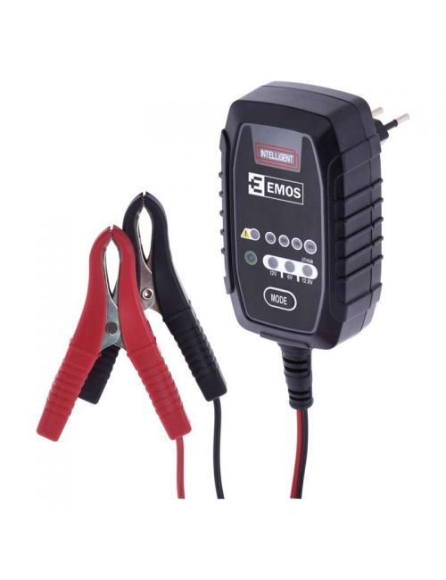 Cargador para baterías de plomo ácido AGM, Gel y LiFePO4 de 6V, 12V y 12,8V a 0,8A EMOS