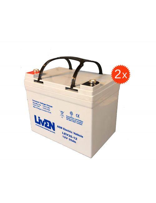 Baterías para silla de ruedas o scooter eléctrico de 12V 35Ah LivEN serie LEV (pack 2 unidades)