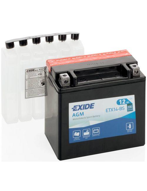 Batería moto 12V 12Ah ETX14-BS, YTX14-BS EXIDE AGM