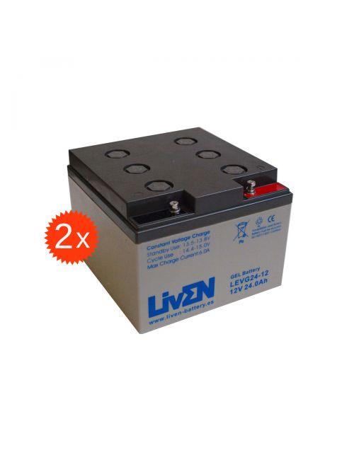 Baterías de gel para silla de ruedas o scooter eléctrico de 12V 24Ah LivEN serie LEVG (pack 2 unidades).