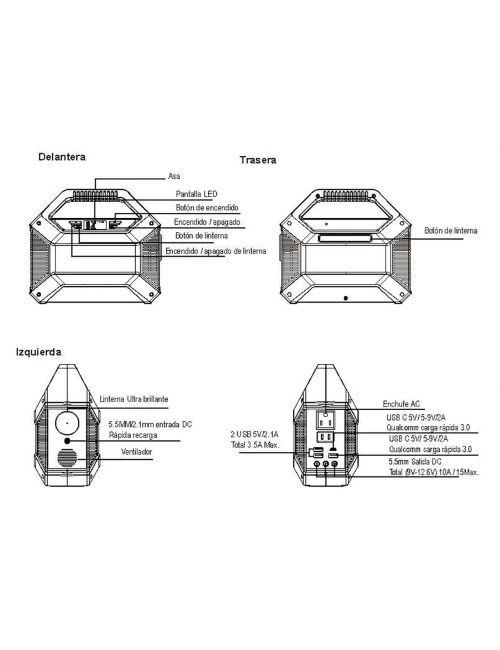 Batería externa portátil 155Wh/14Ah con 1 enchufe AC (100W máx.), 1xUSB-C, 3xUSB-A, 3 salidas DC (150W máx.) y toma de mechero