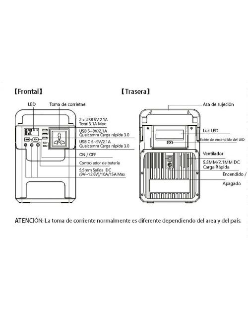 Batería externa portátil 222Wh/20Ah con 1 enchufe AC (100W máx.), 2xUSB-C, 3xUSB-A, 3 salidas DC (150W máx.) y toma de mechero