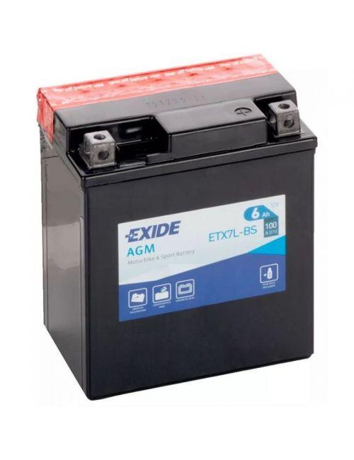 Batería moto 12V 6Ah 100CCA ETX7L-BS, YTX7L-BS EXIDE AGM