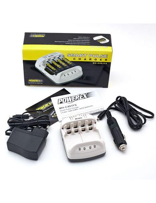 Cargador para 1 a 4  pilas recargables AA ó AAA. Carga rápida o lenta y control de carga individual.