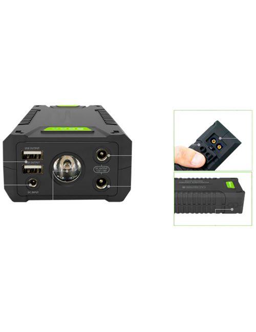 Arrancador de litio 20000mAh 1000A, powerbank con 2 puertos USB y linterna