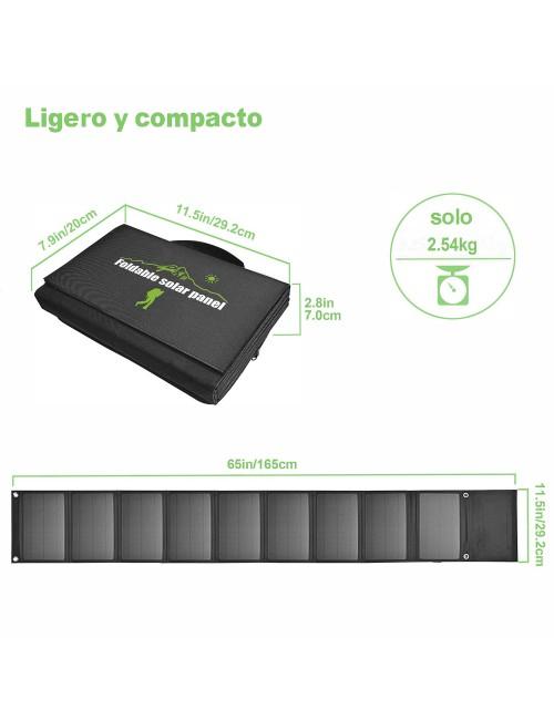 Panel solar cargador 60W plegable y portátil con 3 puertos USB