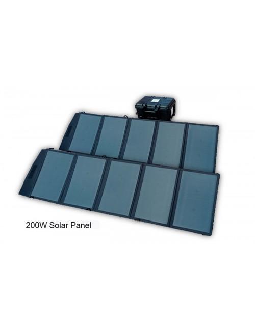 Generador solar portátil con panel solar de 200W, batería 414Wh LiFePO4, enchufe AC (500W máx.), 4xUSB-A y toma de mechero