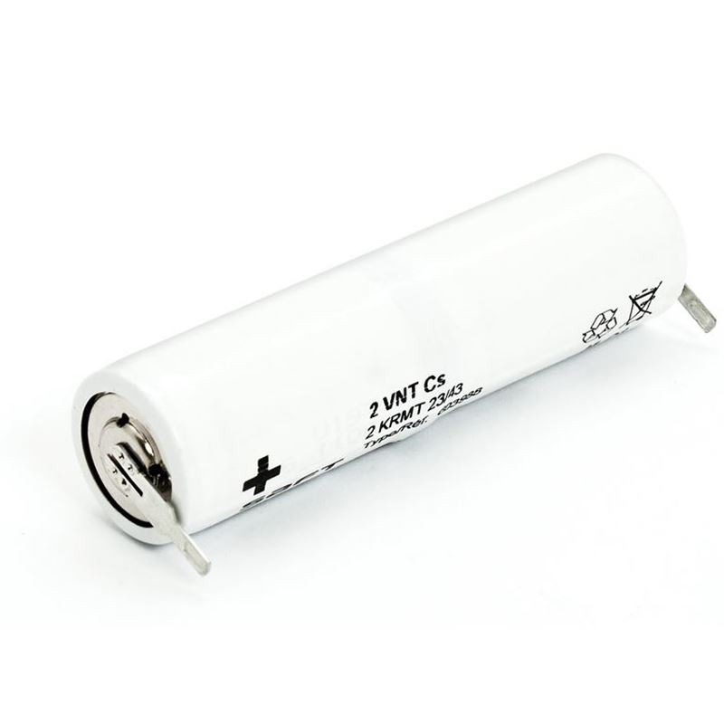 Bateria para iluminación de emergencia de 2,4V 1,6Ah Ni-Cd con terminales faston