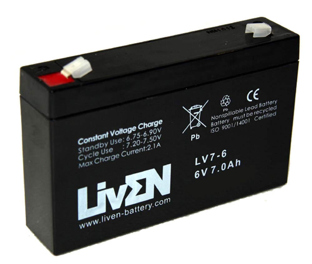 Batería Feber, Injusa, Moltó, PegPerego para coches, motos, quads y triciclos eléctricos para niños 6V 7Ah Liven serie LV